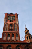 Gothic tower of town hall in Torun, Poland. Royalty Free Stock Images
