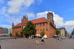 Gothic town hall in Torun stock photography