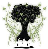 Gothic tree. A beautiful vector gothic tree on the floral background Royalty Free Stock Photos