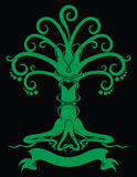 Gothic tree emblem. Green Gothic tree emblem with heart Royalty Free Stock Images