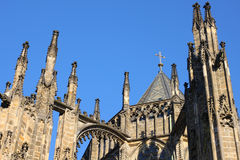 Gothic turrets of St. Vitus cathedral in Prague Royalty Free Stock Photo