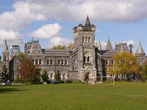 Gothic university campus in fall
