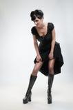 Gothic vampire girl in black dress stock photos