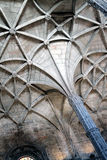 Gothic vault. With arched ceiling in mosteiro dos jeronimos, part of the unesco world heritage stock image