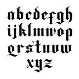 Gothic vector font. Blackletter gothic vector font. lowercase letters stock illustration
