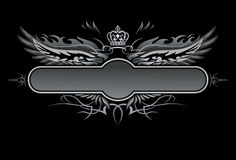 Gothic Vector Insignia. Gothic Vector Black and white winged Insignia Royalty Free Stock Images