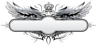 Gothic Vector Insignia. Gothic Vector Black and white winged Insignia Stock Photos