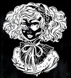 Gothic Victorian girl head portrait with eye patch curly hair royalty free stock photography