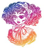 Gothic Victorian girl head portrait with eye patch curly hair royalty free stock images