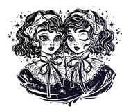 Gothic twin witch girls heads portrait, curly hair stock illustration