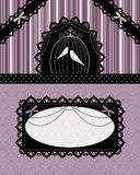 Gothic vintage card. Card with laces and birds in a cage Royalty Free Stock Photography
