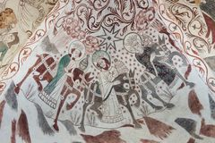 Gothic wall painting of the Epiphany Stock Photos