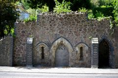 Gothic Well, Malvern Wells, Worcestershire. Gothic style facade of the Gothic Well at Malvern, Worcestershire, now closed off from public access Stock Image