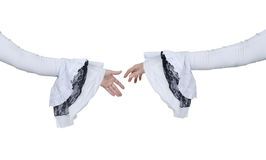 Gothic White Lace Handshake Royalty Free Stock Photography