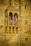 Gothic window. Belem Tower (Torre de Belem). Symbol of the Lisbon, listed in UNESCO World Heritage Site Stock Photos