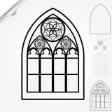 Gothic window. Of cathedrals, churches, monasteries and medieval castles, roses elements - vector illustration stock illustration