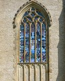 Gothic window with colored vitrage Royalty Free Stock Photos