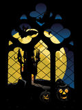 Gothic Window and Moon Royalty Free Stock Images