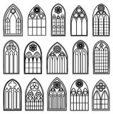 Gothic Window Silhouettes Stock Photography