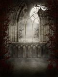 Gothic window with thorns. Night scenery with a gothic window and thorns vector illustration