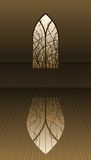 Gothic window with thorns. A gothic window with thorns at evening time in sepia tones royalty free illustration