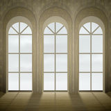 Gothic windows. Wall with three tall gothic glass windows royalty free illustration
