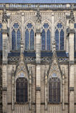 Gothic windows. In the façade of the cathedral in San Sebastian (Spain Stock Images