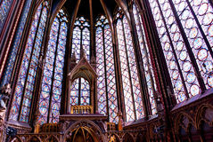 Gothic windows. Bottom view of the church Royalty Free Stock Photo