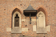 Gothic Windows and the Bell Stock Photo