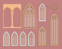 Gothic windows in central Europe stock illustration