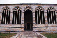 Gothic windows with traceries on Monumental cemetery Composanto,. Pisa, Italy Royalty Free Stock Images