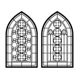 Gothic windows. Vintage frames. Church stained-glass windows. On the image  is presented gothic windows. Vintage frames. Church stained-glass windows Stock Image