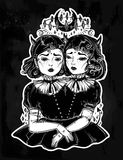 Gothic witchcraft siamese twins. Female demon portriats. Beautiful victorian monster girls in vintage style. For t-shirt design or post card. Fashion vector Royalty Free Stock Image
