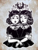 Gothic witchcraft siamese twins. Female demon portriats. Beautiful victorian monster girls in vintage style. For t-shirt design or post card. Fashion vector Royalty Free Stock Photography