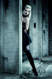 Gothic woman. In black dress Stock Images