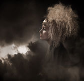 Gothic woman. Vogue style photo of a gothic woman stock image