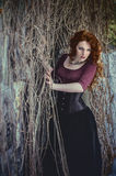 Gothic woman in black dress Royalty Free Stock Photography