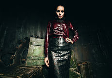Gothic woman in black skirt and claret shirt Stock Images