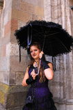 Gothic woman with black umbrella Royalty Free Stock Images