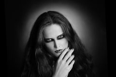 Gothic woman black and white Stock Photo