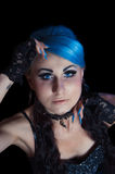 Gothic woman with blue hairs and manicure Royalty Free Stock Photography