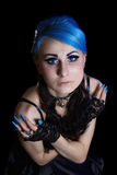 Gothic woman with blue hairs Royalty Free Stock Photo