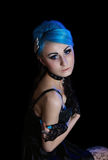 Gothic woman with blue hairs Stock Images