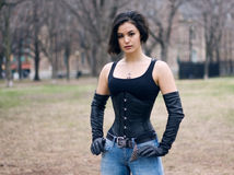 Gothic woman in corset, halloween Royalty Free Stock Images