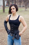Gothic woman in corset, halloween Stock Photo