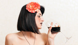 Gothic woman with a glass of wine Royalty Free Stock Photo
