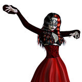 Gothic woman in red dress Stock Photos