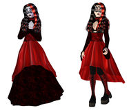 Gothic woman in red dress Royalty Free Stock Images