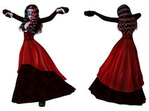 Gothic woman in red dress Stock Photo