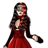 Gothic woman in red dress Royalty Free Stock Photo